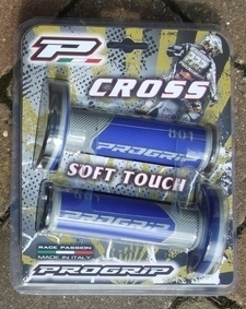 "Grips grey/blue - Progrip Soft Touch ""Cross"" grips - 115mm"